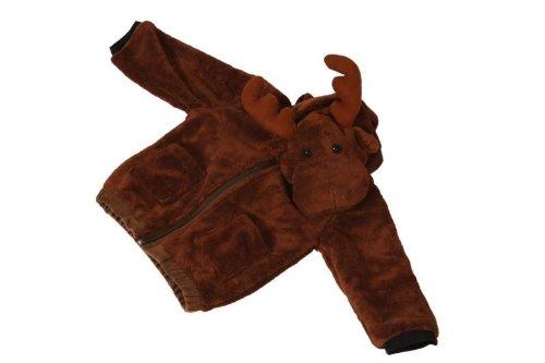 Foxxeo 11008-STD | Deluxe Elch Jacke für Kinder Elchjacke Kinderjacke Plüsch braune Weste Tierjacke Tier Tiere Kind Kinder braun Kapuze Kapuzenjacke Gr. 116