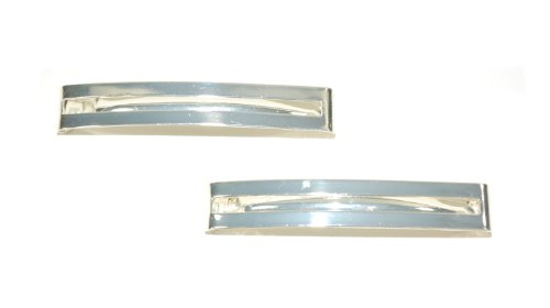 Pair of Double Straight Bar Clip-in End Barrettes, Hair Slides. (Silver) by Top Brand