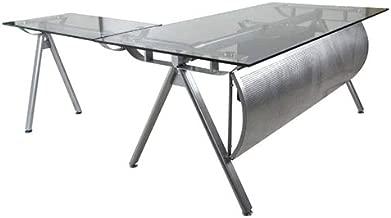 Mahmayi Vidro Modern Executive Desk, 75 x 180 x 180 cm, Silver, ME4218