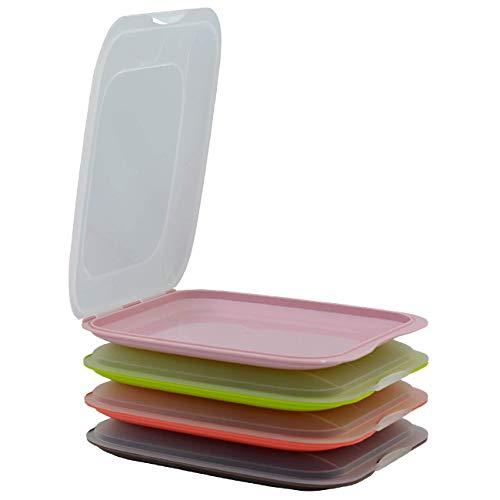 ENGELLAND - 4er Set hochwertige stapelbare Aufschnitt-Boxen, Frischhaltedose für Aufschnitt. Wurst Behälter. Perfekte Ordnung im Kühlschrank - 1x rosa 1x braun 1x grün 1x lachs, Maße 25 x 17 x 3.3 cm