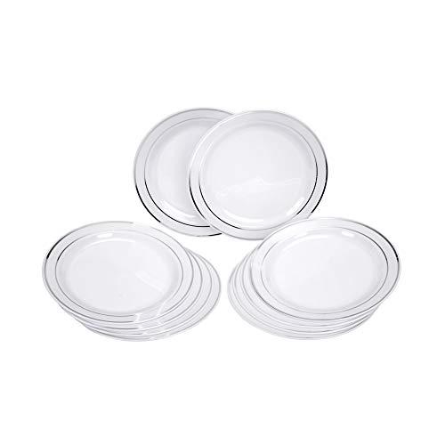 GRÄWE Einweg-Dessertteller Ø 19 cm, 10er Set - stabile Plastikteller in Porzellan-Optik, weiß/silber