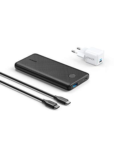Anker PowerCore Slim 10000 PD Ladeset mit 18W Powerbank und 18W USB-C Ladegerät, Power Delivery...