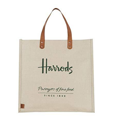 Harrods - Bolsa de la compra de yute bordado, color marrón