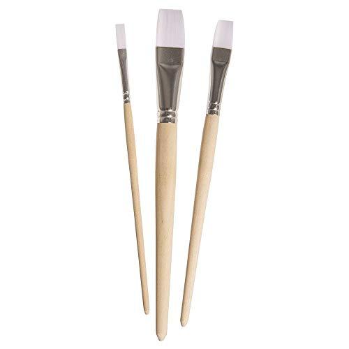 Rayher Hobby 37319000 Pinselset Chalky Finish Basic, 3 Flachpinsel, Größen 6, 12, 20, Holzstiel, Aluminium-Zwinge, Synthetikhaarpinsel, Kunsthaarpinsel