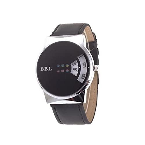 Unisex Fashion Colorful Turnlate Turnlate Watch Digital Cuarzo claro Big Dial Placa Reloj con brazalete de cuero Reloj de pulsera casual incorporado Batería-negro, regalos para amigos y colegas