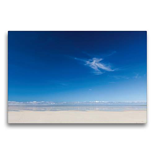 Premium Textil-Leinwand 75 x 50 cm Quer-Format Einsame Wolke am Strand von Sankt Peter Ording   Wandbild, HD-Bild auf Keilrahmen, Fertigbild auf hochwertigem Vlies, Leinwanddruck von Sabine Reuke