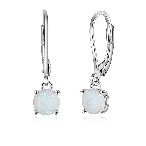 B&H-ERX Klassische runde weiße Opal Ohrringe für Frauen 925 Sterling Silber Creolen Geburtstagsgeschenk mit Zirkonia Immer perfekt für Jede Gelegenheit