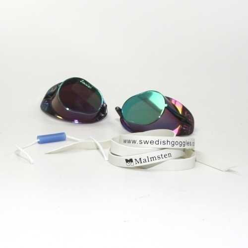 Malmsten Schwedenbrille Anti Fog - BLAU METALLIC | Schwimmbrille | Swedish Goggles | Montageset