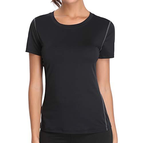 Joyshaper Sport T-Shirt Damen Shortsleeve Top Kurzarm Oberteile für Joggen, Fitness, Yoga oder Alltägliche Bekleidung, Schwarz, L