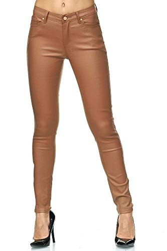 Elara Damen Hose Kunstleder Push Up Effekt Chunkyrayan E621-3 Brown-42 (XL)