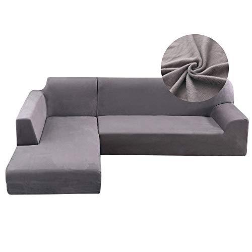 Copridivano con Penisola Elasticizzato in Peluche Chaise Longue Sofa Cover Componibile in Poliestere a Forma di L (3Posti+2Posti, Grigio)