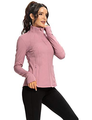 Hiverlay Women's Running Jacket Lightweight Workout Slim fit Jacket with Zip Pockets pink L