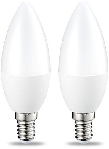 Amazon Basics E14 LED Lampe, Kerzenform, 5W (ersetzt 40W), klar, dimmbar- 2er-Pack