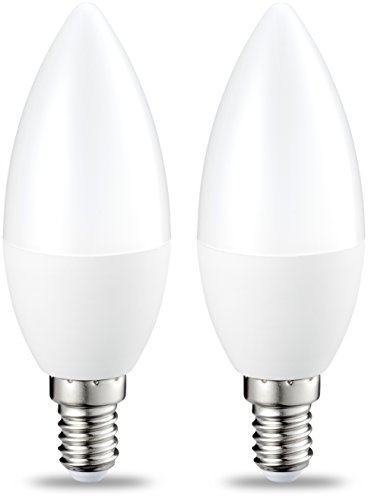 AmazonBasics E14 LED Lampe, Kerzenform, 5W (ersetzt 40W), klar, dimmbar- 2er-Pack
