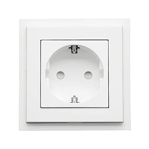 Habengut  Aufputz-Steckdoseneinheit (als Profilabschluss) für Kabelkanal 30x15 mm, Farbe: Weiß, 1 Stück