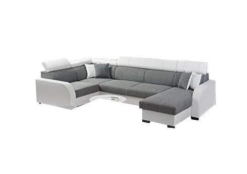 Canapé d'angle 7 places Gris Tissu Luxe Confort