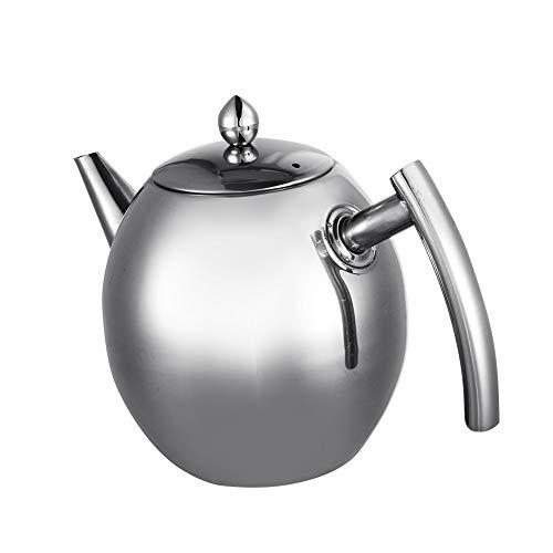 Cafopgrill Robuste Edelstahl-Teekanne mit großem Fassungsvermögen und Kaffeekanne für Heißwassertee mit Filtergriffdeckel(1500ml)