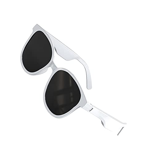 Kesoto Smart Audio Glasses Wireless Bluetooth Sunglasses Open Ear Music&Hands-Free Calling,for Men&Women, Waterproof,Connect Mobile Phones and Tablets - White Square