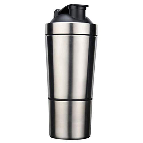 SeaStart Shaker per proteine agitatore di proteine in acciaio inossidabile nutrizione con sfera di miscelazione bottiglia per sport di fitness shaker a doppia scala, 700 ml + 200 ml