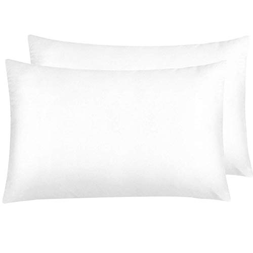 NTBAY Silky Satin Queen Pillowcases Set of 2, Super Soft, Hidden Zipper Design, White1, Queen Size