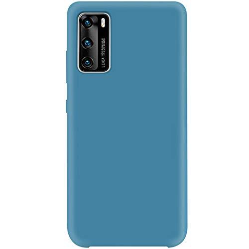 2Buyshop Compatibel met Huawei P40 hoesje, vloeibare silicone Soft TPU beschermhoes, ultra dun telefoonhoesje, schokbestendig, krasbestendig, anti-slip, telefoonhoesje voor Huawei P40, Huawei P40, denim blue