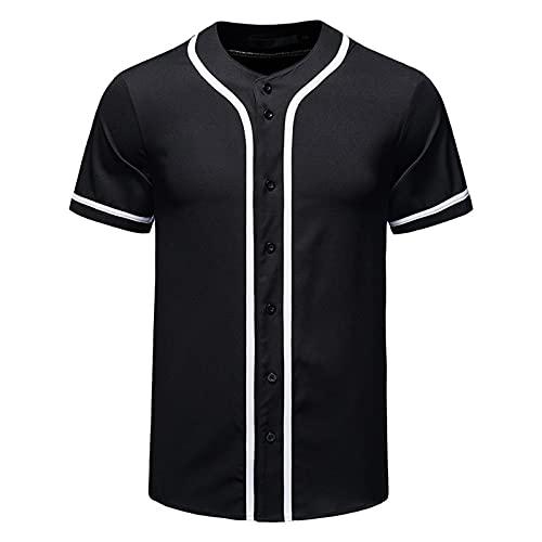 SSBZYES Camisas para Hombres Camisas De Manga Corta para Hombres De Verano Camisas De Cuello Redondo para Hombres Jerseys De Béisbol para Hombres Camisas Tipo Cárdigan Abotonado