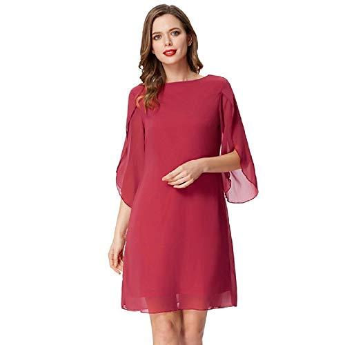 GRACE KARIN Abito Donna Elegante Bluse Scollo Tondo Abito Donna Chiffon per Primavera Estivo Rosso S CL010888-2