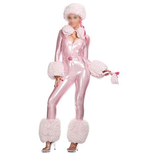 QINQI Disfraces De Halloween para Mujer Sexy Cosplay Pink Puppy Christmas Jumpsuit Set (Sombrero + Mono)