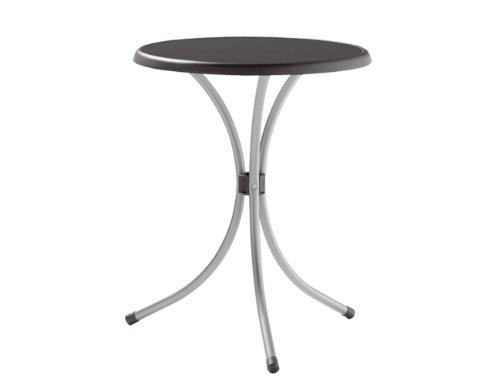 Sieger 200/G Bistro-Tisch mit mecalit-Pro-Platte Ø 60 cm, Stahlrohrgestell eisengrau, Tischplatte Schieferdekor anthrazit
