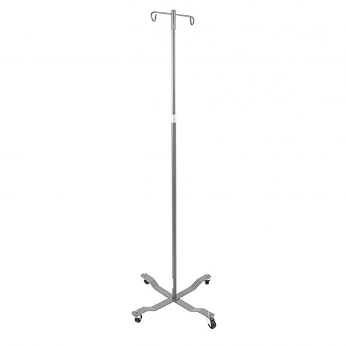Rolling 2 Hooks 4 Legs IV Wheeled Stand Pole Adjustable Height 47