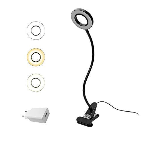 Eyocean LED Leselampe, Schwanenhals Klemmlampe, Augenpflege Klemmleuchte, 3 Modi & 10 Dimmstufen, Klemmlicht für Büro Heimgebrauch, CE Adapter Enthalten, 7W, Schwarz