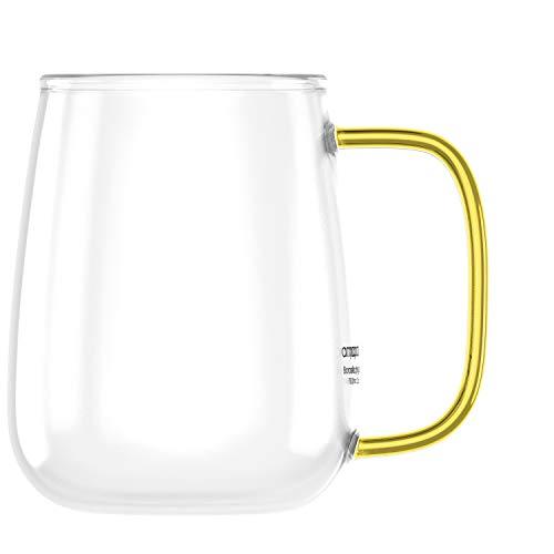amapodo XXL Kaffeetasse groß mit Henkel Jumbo Kaffeebecher Geschenkidee für Frauen Männer (Transparent, Gelb)