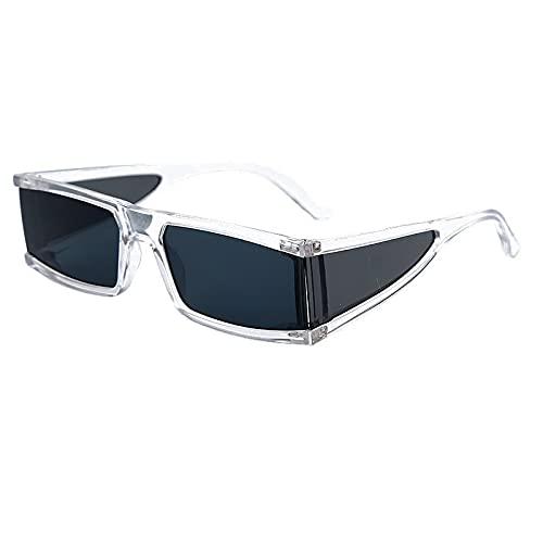 FACHA Gafas de sol unisex rectangulares con lentes transparentes de una sola pieza Punk Hip Hop Gafas de fiesta accesorios (color: B, tamaño: M)