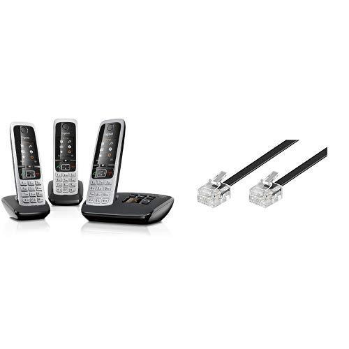 Gigaset C430A Trio Telefon - Schnurlostelefon / 3 Mobilteile - TFT-Farbdisplay / Dect-Telefon - mit Anrufbeantworter / Freisprechfunktion Schwarz & GoobayModularanschlusskabel 3 Meter, Schwarz