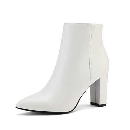 DREAM PAIRS Women's White Pu Chunky Heel Ankle Booties Pointed Toe Short Boots Size 9 B(M) US Sianna-1