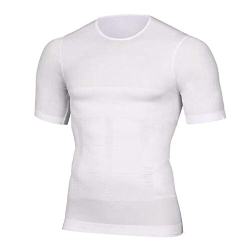 Huaheng mannen Body Build Compressie Shirt Top T-shirt korte mouw ronde kraag Shaper voor de zomer M Kleur: wit