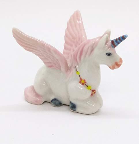 WitnyStore Miniature Unicorn Ceramic Handcraft Figurine Horse Animal Painted Cute Decor Vintage