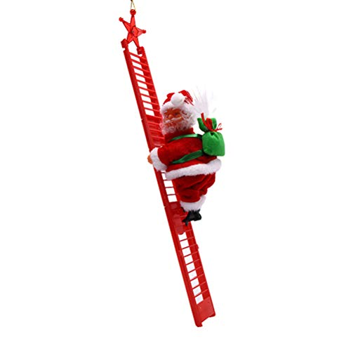 Ioffersuper Santa Climbing Ladder Christmas Decoration Electric Santa Claus Climbing Rope Ladder, Christmas Super Climbing Santa Plush Doll Toy for Christmas Tree Ornament (Red)