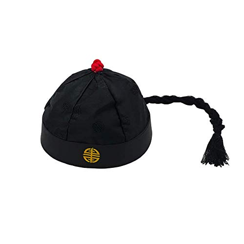 Chinese Emperor Oriental Hat with Ponytail Party Cosplay Hats Stage Performance Props (Adult)