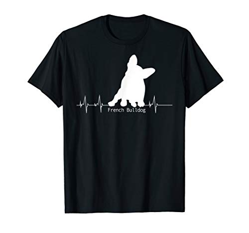 Herzschlag Pulslinie Design - French Bulldog Geschenk T-Shirt