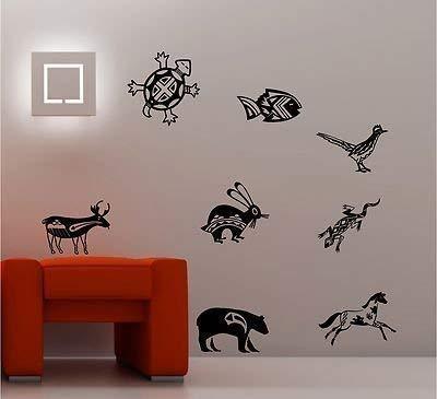 Online Design Indien D'Amérique Animaux Sticker de Citation Art Mural Vinyle Enfants Chambre à Coucher Séjour - Bleu