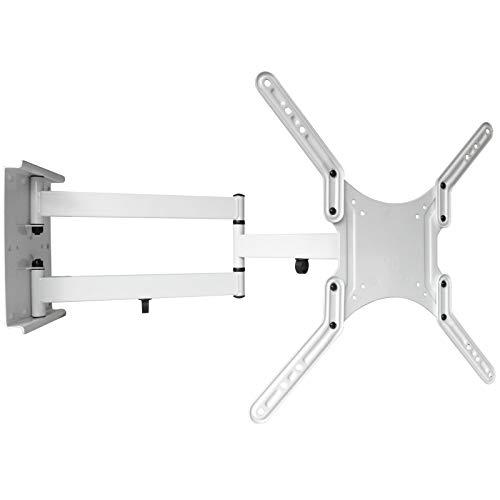 DRALL INSTRUMENTS Universal Fernseher Halterung - Schwenkbar Neigbar - 16-55 Zoll (39,6-140 cm) - Ausziehbar bis 65 cm - TV Wandhalterung für 3D HD LED LCD - VESA 100 200 300 400 weiß Modell: L22LW