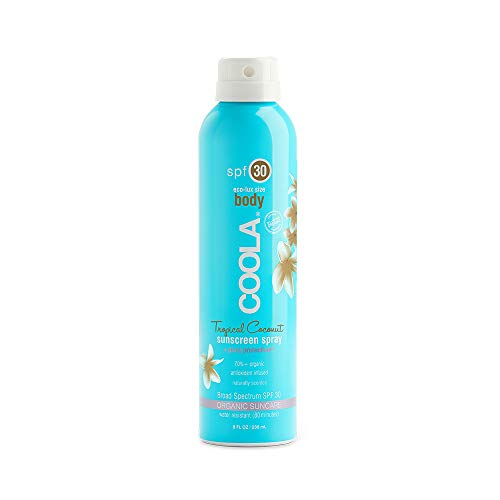 COOLA Organic Sunscreen & Sunblock Spray, Skin Care for Daily Protection, Broad Spectrum SPF 30, Reef Safe, Tropical Coconut, 8 Fl Oz