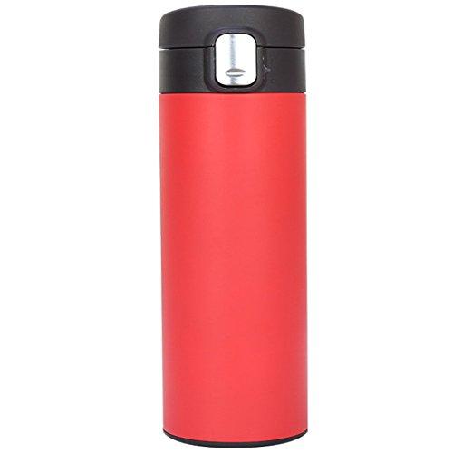 KDOAE Bottiglie Coibentate 500ML di Vuoto Isolato in Acciaio Inox Tazza di Corsa con Flip Coperchio Aperto Doppia Parete per Lavoro, Palestra, Viaggi (Color : Red)