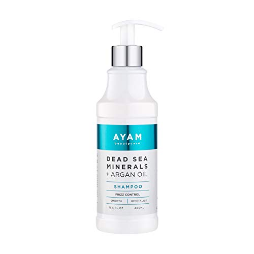 AYAM Beautycare Dead Sea Minerals + Argan Oil Shampoo Frizz Control, Smooth and Revitalize for Normal to Oily Hair 13.5 fl Oz