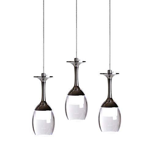 KJLARS 3W X 3 Weinglas LED Pendelleuchte Hängelampe für Wohnzimmer Bar Esszimmer kühlweiß Hängeleuchte