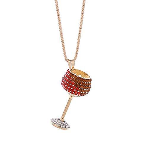 ICHQ Angebote Weinglas Anhänger Halskette Frauen Charme Bunte Weinglas Strass Nette Halskette Schmuck (Rot)