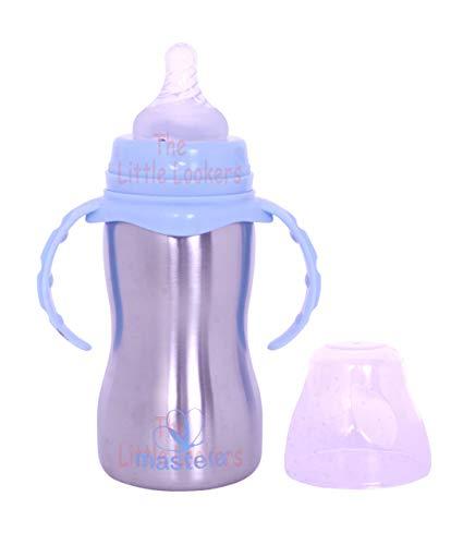 THE LITTLE LOOKERS� Stainless Steel Newborn Baby (2 in 1) Sipper/Feeding Bottle | Steel Feeder Cum Sipper (Blue, 240 ML)