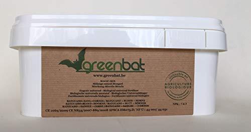 GREENBAT 3 kg Polvere NPK 7-6-3 Miscela di fertilizzanti biologici di Guano di Pipistrello, Farina di Sangue e Corna di bovino.