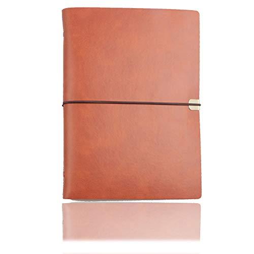 A5 Lederbinder Notizbuch PU Journal Writing Notizbuch Tagebuch Austauschbares Papier, feines weiches PU Leder + Metallbinder + Spitze + Qualitätspapier - 100 g/m², 160 Seiten (Braun)